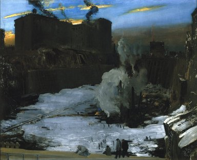George Wesley Bellows (American, 1882-1925). <em>Pennsylvania Station Excavation</em>, ca. 1907-1908. Oil on canvas, 31 3/16 x 38 1/4 in. (79.2 x 97.1 cm). Brooklyn Museum, A. Augustus Healy Fund, 67.205.1 (Photo: Brooklyn Museum, 67.205.1_SL1.jpg)