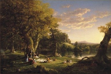 Thomas Cole (American, born England, 1801-1848). <em>A Pic-Nic Party</em>, 1846. Oil on canvas, 47 7/8 x 54 in. (121.6 x 137.2 cm). Brooklyn Museum, Healy Purchase Fund B, 67.205.2 (Photo: Brooklyn Museum, 67.205.2_SL1.jpg)