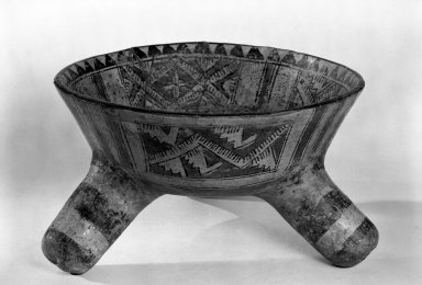 <em>Large Tripod Bowl: Rattle Legs</em>, ca. 300 B.C.E.-400 C.E. Ceramic, pigment Brooklyn Museum, Gift of Mr. and Mrs. Marvin Cassell, 67.206.23. Creative Commons-BY (Photo: Brooklyn Museum, 67.206.23_bw.jpg)