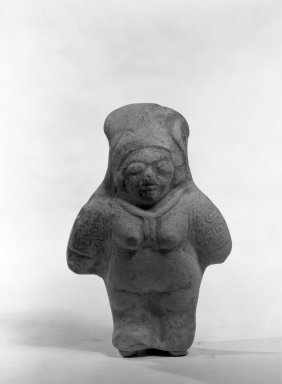 Bahía. <em>Standing Female Figure Whistle</em>. Clay, pigment Brooklyn Museum, Gift of Mr. and Mrs. Marvin Cassell, 67.206.4. Creative Commons-BY (Photo: Brooklyn Museum, 67.206.4_bw.jpg)