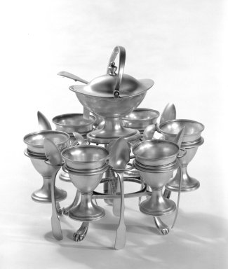 <em>Egg Stand with Egg Cups and Spoons</em>, ca. 1806-1807. Silver, Stand: 8 x 7 3/4 in. (20.3 x 19.7 cm). Brooklyn Museum, Gift of Mr. and Mrs. Edwin Kessler, 67.225.1a-r. Creative Commons-BY (Photo: Brooklyn Museum, 67.225.1a-r_bw.jpg)