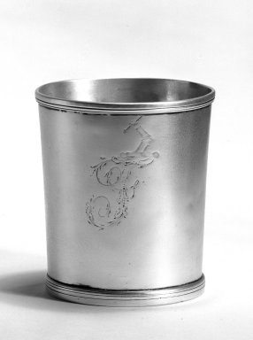 Samuel Richards. <em>Beaker</em>, ca. 1797-1818. Silver, 3 3/8 x 3 x 2 11/16 in. (8.6 x 7.6 x 6.8 cm). Brooklyn Museum, Gift of Mr. and Mrs. Edwin Kessler, 67.225.2. Creative Commons-BY (Photo: Brooklyn Museum, 67.225.2_bw.jpg)