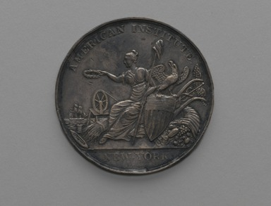 Robert Lovett (American, 1796-1874). <em>American Institute Award Medal</em>, 1841 medal designed; 1859 issued. Silver, Medal: 2 1/16 x 2 1/16 x 1/8 in. (5.2 x 5.2 x 0.3 cm). Brooklyn Museum, Gift of Mr. and Mrs. Samuel Schwartz, 67.226. Creative Commons-BY (Photo: Brooklyn Museum, 67.226_front_PS2.jpg)