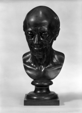 Jean-Antoine Houdon (French, 1741-1828). <em>Bust of Voltaire</em>. Bronze, H: 17 1/2 in. (44.5 cm). Brooklyn Museum, Gift of Mrs. Ernest T. Weir, 67.227.2. Creative Commons-BY (Photo: Brooklyn Museum, 67.227.2_front_bw.jpg)