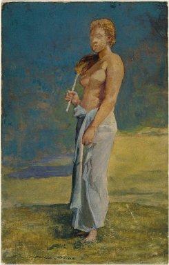 John La Farge (American, 1835-1910). <em>Samoan Lady</em>, 1891. Watercolor (transparent and gouche), 9 1/16 x 5 3/4 in.  (23.0 x 14.6 cm). Brooklyn Museum, Gift of Daniel and Rita Fraad, Jr., 67.234.2 (Photo: Brooklyn Museum, 67.234.2_SL1.jpg)