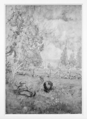 George Inness (American, 1825-1894). <em>The Turkey (Girl with turkey in meadow)</em>, ca. 1882-1885. Watercolor, 20 x 14 in. (50.8 x 35.6 cm). Brooklyn Museum, Gift of Daniel and Rita Fraad, Jr., 67.234.3 (Photo: Brooklyn Museum, 67.234.3_framed_bw.jpg)