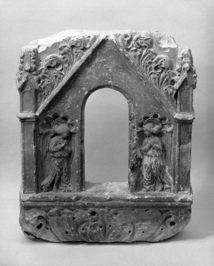 Unknown. <em>Stone Tabernacle with Annunciation Scene</em>, late 15th century. Limestone, 26 × 20 3/4 × 5 in. (66 × 52.7 × 12.7 cm). Brooklyn Museum, Gift of Samuel H. Kress Foundation, 67.236. Creative Commons-BY (Photo: Brooklyn Museum, 67.236_bw.jpg)