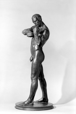 Charles Henry Niehaus (American, 1855-1935). <em>Caestus</em>, 1901. Bronze, 35 1/4 x 14 7/8 x 14 7/8 in. (89.5 x 37.8 x 37.8 cm). Brooklyn Museum, Gift of James Blaine Walker, Jr., 67.237. Creative Commons-BY (Photo: Brooklyn Museum, 67.237_bw.jpg)