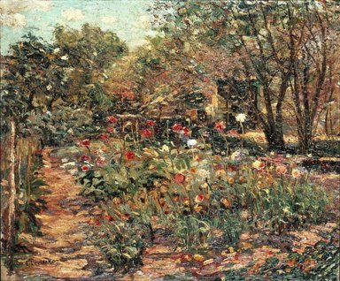 Ernest Lawson (American, 1873-1939). <em>Garden Landscape</em>, ca. 1915. Oil on canvas, 19 15/16 x 23 7/8 in. (50.6 x 60.6 cm). Brooklyn Museum, Bequest of Laura L. Barnes, 67.24.10 (Photo: Brooklyn Museum, 67.24.10_SL1.jpg)