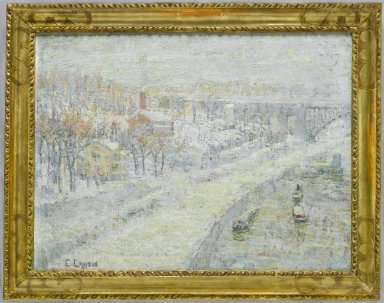 Ernest Lawson (American, 1873-1939). <em>Winter Landscape: Washington Bridge</em>, ca. 1907-1910. Oil on canvas, 18 1/16 x 24 in. (45.8 x 61 cm). Brooklyn Museum, Bequest of Laura L. Barnes, 67.24.12 (Photo: Brooklyn Museum, 67.24.12_PS6.jpg)