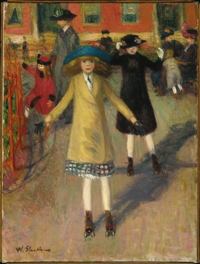 William Glackens (American, 1870-1938). <em>Children Rollerskating</em>, ca. 1912-14. Oil on canvas, 23 3/4 x 17 15/16 in. (60.3 x 45.6 cm). Brooklyn Museum, Bequest of Laura L. Barnes, 67.24.1 (Photo: Brooklyn Museum, 67.24.1_SL1.jpg)