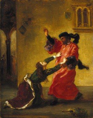 Eugène Delacroix (French, 1798-1863). <em>Desdemona Cursed by her Father (Desdemona maudite par son père)</em>, ca. 1852. Oil on cradled panel, 16 x 12 5/8 in. (40.6 x 32.1 cm). Brooklyn Museum, Bequest of Laura L. Barnes, 67.24.22 (Photo: Brooklyn Museum, 67.24.22_SL1.jpg)