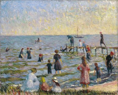 William Glackens (American, 1870-1938). <em>Bathing at Bellport, Long Island</em>, 1912. Oil on canvas, 26 1/16 x 32 in. (66.2 x 81.3 cm). Brooklyn Museum, Bequest of Laura L. Barnes, 67.24.6 (Photo: Brooklyn Museum, 67.24.6_colorcorrected_SL1.jpg)