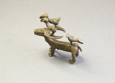 Akan. <em>Gold-weight (abrammuo): goat</em>. Brass, 2 1/4 x 1 1/8 x 2 7/16 in. (5.7 x 2.8 x 6.2 cm). Brooklyn Museum, Bequest of Laura L. Barnes, 67.25.12. Creative Commons-BY (Photo: Brooklyn Museum, 67.25.12_PS5.jpg)