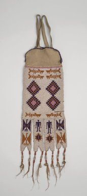Northwest Coast, Cascade. <em>Pipe Bag</em>, ca. 1875-1890. Hide, glass beads, 12 5/8 x 5 in.  (32 x 12.7 cm). Brooklyn Museum, Gift of J.L. Greason and Mrs. A. Gordon, 67.26.18. Creative Commons-BY (Photo: Brooklyn Museum, 67.26.18.jpg)
