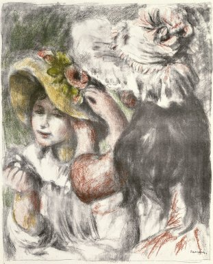 Pierre-Auguste Renoir (French, 1841-1919). <em>Pinning the Hat (Le Chapeau épinglé)</em>, 1898. Color lithograph on MBM laid paper, Image: 23 7/8 x 19 in. (60.6 x 48.3 cm). Brooklyn Museum, Bequest of Laura L. Barnes, 67.29.1 (Photo: Brooklyn Museum, 67.29.1_SL1.jpg)