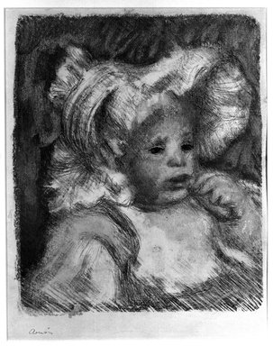 Pierre-Auguste Renoir (French, 1841-1919). <em>Child with a Biscuit, (L'Enfant au Biscuit)</em>, 1899. Lithograph on wove paper, 12 5/8 x 10 5/8 in. (32.1 x 27 cm). Brooklyn Museum, Bequest of Laura L. Barnes, 67.29.2 (Photo: Brooklyn Museum, 67.29.2_acetate_bw.jpg)