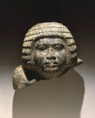 <em>Head of a Nobleman</em>, ca. 2650-2600 B.C.E. Granite, 8 1/2 x 9 x 6 in. (21.6 x 22.9 x 15.2 cm). Brooklyn Museum, Charles Edwin Wilbour Fund, 67.5.1. Creative Commons-BY (Photo: Brooklyn Museum, 67.5.1_SL1.jpg)