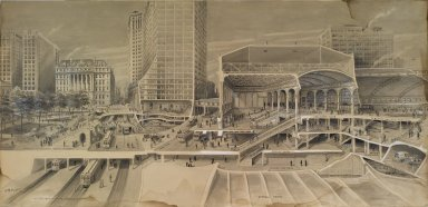 Harry M. Pettit (American, 1867-1941). <em>Sectional View Showing Traffic Facilities at the Brooklyn Bridge in Connection with Proposed Manhattan Terminal ...</em>, ca. 1912. India ink and wash touched with opaque white, Image: 26 1/4 x 54 3/4 in. (66.7 x 139 cm). Brooklyn Museum, Gift of the Department of Public Works, Bureau of Bridges, City of New York, 67.55.2 (Photo: Brooklyn Museum, 67.55.2_PS1.jpg)