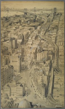 Harry M. Pettit (American, 1867-1941). <em>Proposed Approach in the Borough of Brooklyn to the Brooklyn Bridge</em>, ca. 1912. India ink and wash touched with opaque white, Image: 45 13/16 x 27 5/16 in. (116.3 x 69.3 cm). Brooklyn Museum, Gift of the Department of Public Works, Bureau of Bridges, City of New York, 67.55.3 (Photo: Brooklyn Museum, 67.55.3_PS1.jpg)