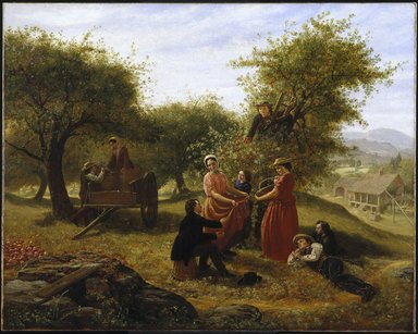 Jerome Thompson (American, 1814-1886). <em>Apple Gathering</em>, 1856. Oil on canvas, 39 3/4 x 49 1/2 in. (100.9 x 125.8 cm). Brooklyn Museum, Dick S. Ramsay Fund and funds bequeathed by Laura L. Barnes, 67.61 (Photo: Brooklyn Museum, 67.61_SL1.jpg)