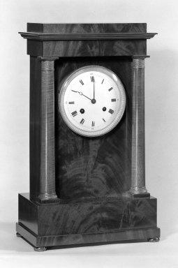 <em>Clock</em>. Mahogany with ormolu decoration Brooklyn Museum, Gift of Mrs. John J. Ide, 67.71.2. Creative Commons-BY (Photo: Brooklyn Museum, 67.71.2_bw.jpg)
