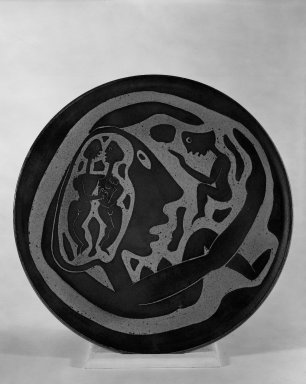 Edwin Scheier (American, 1910-2008). <em>Plate</em>, ca. 1952. Glazed earthenware, 16 3/4 in. (42.5 cm). Brooklyn Museum, H. Randolph Lever Fund, 67.76.1. Creative Commons-BY (Photo: Brooklyn Museum, 67.76.1_bw.jpg)