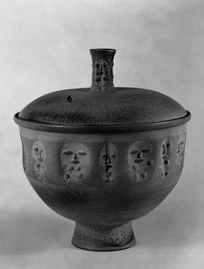 Edwin Scheier (American, 1910-2008). <em>Jar</em>, ca. 1952. Glazed earthenware, 15 3/4 x 14 1/2 in. (40 x 36.8 cm). Brooklyn Museum, H. Randolph Lever Fund, 67.76.2a-b. Creative Commons-BY (Photo: Brooklyn Museum, 67.76.2_view1_bw.jpg)