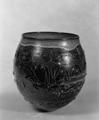 Edwin Scheier (American, 1910-2008). <em>Bowl</em>, ca. 1949. Glazed earthenware, 11 x 8 3/4 in. (27.9 x 22.2 cm). Brooklyn Museum, H. Randolph Lever Fund, 67.76.3. Creative Commons-BY (Photo: Brooklyn Museum, 67.76.3_bw.jpg)