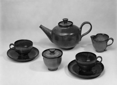 American. <em>Tea Set</em>, ca. 1965. Glazed earthenware, teapot with cover: 6 1/2 x 11 in. (16.5 x 27.9 cm). Brooklyn Museum, H. Randolph Lever Fund, 67.76.8a-i. Creative Commons-BY (Photo: Brooklyn Museum, 67.76.8a-i_bw.jpg)