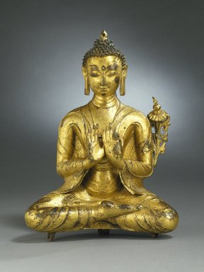 <em>Seated Maitreya</em>, 13th-14th century. Gilt copper alloy, 10 1/4 x 7 1/2 x 3 in. (26 x 19.1 x 7.6 cm). Brooklyn Museum, Charles Stewart Smith Memorial Fund, 67.80. Creative Commons-BY (Photo: Brooklyn Museum, 67.80_SL1.jpg)