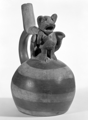 Moche. <em>Stirrup Spout Vessel with Bat Figure</em>, 400-500 C.E. Clay, slips, 8 1/4 x 5 1/4 x 6 3/4 in. (21 x 13.3 x 17.1 cm). Brooklyn Museum, Gift of Robert  L. Niles, 67.86.4. Creative Commons-BY (Photo: Brooklyn Museum, 67.86.4_bw.jpg)