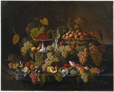 Severin Roesen (American, born Germany, ca. 1815-after 1872). <em>Still Life with Fruit</em>, ca. 1860. Oil on canvas, 40 1/16 x 50 1/8 in. (101.7 x 127.3 cm). Brooklyn Museum, Dick S. Ramsay Fund, 67.9 (Photo: Brooklyn Museum, 67.9_SL1.jpg)