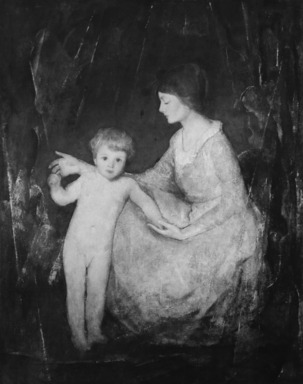 Charles W. Hawthorne (American, 1872-1930). <em>The Child</em>, ca. 1920. Oil on canvas, 61 7/16 x 49 in. (156 x 124.5 cm). Brooklyn Museum, Dick S. Ramsay Fund, 68.158.1 (Photo: Brooklyn Museum, 68.158.1_bw.jpg)