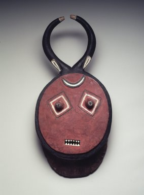 Baule. <em>Mask (Kple-Kple)</em>, mid-20th century. Wood, pigment, contemporary screws and eyehooks, height (including horns): (44.8 cm). Brooklyn Museum, Gift of Rosemary and George Lois, 68.159.2. Creative Commons-BY (Photo: Brooklyn Museum, 68.159.2.jpg)