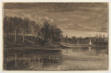 William Morris Hunt (American, 1824-1879). <em>Landscape - Lake Scene</em>, n.d. Charcoal and chalk on paper, Sheet: 11 5/16 x 17 1/2 in. (28.7 x 44.5 cm). Brooklyn Museum, Gift of The Roebling Society, 68.167.1 (Photo: Brooklyn Museum, 68.167.1_IMLS_PS3.jpg)