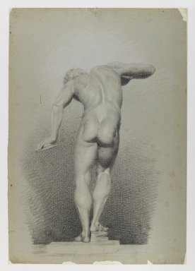 Daniel Huntington (American, 1816-1906). <em>Nude Study</em>, ca. 1848. Black and white crayon on blue-green, medium-weight, slightly textured wove paper, Sheet: 21 3/4 x 15 1/8 in. (55.2 x 38.4 cm). Brooklyn Museum, Gift of The Roebling Society, 68.167.5 (Photo: Brooklyn Museum, 68.167.5_IMLS_PS4.jpg)
