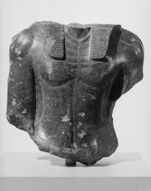 <em>Royal Torso</em>, 1759-1539 B.C.E. Granite, 20 1/2 x 20 1/2 x 9 13/16 in. (52 x 52 x 25 cm). Brooklyn Museum, Charles Edwin Wilbour Fund, 68.178. Creative Commons-BY (Photo: Brooklyn Museum, 68.178_front_acetate_bw_SL1.jpg)
