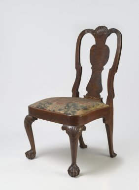 American. <em>Side Chair</em>, ca. 1750. Walnut and walnut veneer, Overall height: 38 1/4 in. (97.2 cm). Brooklyn Museum, H. Randolph Lever Fund, 68.182.1. Creative Commons-BY (Photo: Brooklyn Museum, 68.182.1_PS6.jpg)