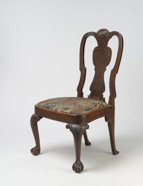 American. <em>Side Chair</em>, ca.1750. Walnut and walnut veneer, 38 1/2 x 21 1/2 x 23 in. (97.8 x 54.6 x 58.4 cm). Brooklyn Museum, H. Randolph Lever Fund, 68.182.2. Creative Commons-BY (Photo: Brooklyn Museum, 68.182.2_PS6.jpg)