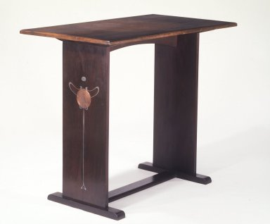 Harvey Ellis (1852-1942). <em>Table</em>, ca.1903. Oak, inlaid copper and pewter, paint, 30 x 35 5/8 x 20 in. (76.2 x 90.5 x 50.8 cm). Brooklyn Museum, Gift of The Roebling Society, 68.183.2. Creative Commons-BY (Photo: Brooklyn Museum, 68.183.2.jpg)