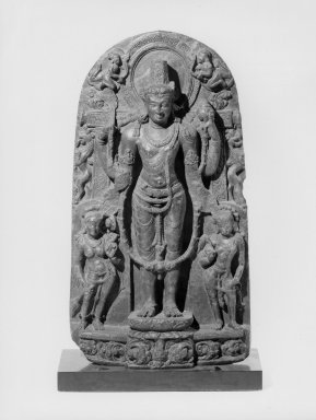 <em>Standing Vishnu</em>, ca. 10th century. Chlorite, 31 3/4 x 16 1/2 in. (80.6 x 41.9 cm). Brooklyn Museum, Gift of Mr. and Mrs. Paul E. Manheim, 68.185.25. Creative Commons-BY (Photo: Brooklyn Museum, 68.185.25_bw_Design_scan.jpg)
