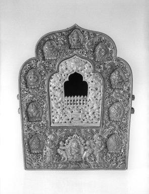 <em>Amulet Box (Ga'u)</em>, 18th-19th century. Silver, copper, and brass, 7 5/8 x 5 15/16 x 3 1/2 in. (19.4 x 15.1 x 8.9 cm). Brooklyn Museum, Gift of Mr. and Mrs. Paul E. Manheim, 68.185.3. Creative Commons-BY (Photo: Brooklyn Museum, 68.185.3_acetate_bw.jpg)
