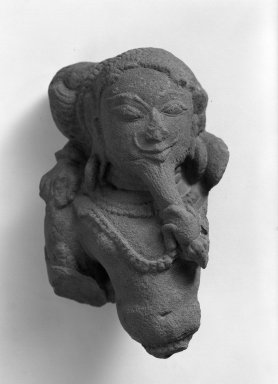 <em>Bearded Male: Figural Fragment from a Relief</em>, ca. 11th century. Sandstone, 8 3/4 x 5 5/8 in. (22.2 x 14.3 cm). Brooklyn Museum, Gift of Mr. and Mrs. Paul E. Manheim, 68.185.5. Creative Commons-BY (Photo: Brooklyn Museum, 68.185.5_acetate_bw.jpg)