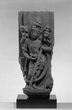 <em>Bhairava (Shiva in His Fierce From)</em>, ca. 9th-11th century. Sandstone, 26 1/2 x 10 3/4 in. (67.3 x 27.3 cm). Brooklyn Museum, Gift of Mr. and Mrs. Paul E. Manheim, 68.185.6. Creative Commons-BY (Photo: Brooklyn Museum, 68.185.6_acetate_bw.jpg)