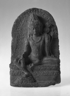 <em>Stele with the Seated Figure of Avalokiteshvara</em>, ca. 9th-10th century. Pala stone, 9 3/4 x 6 5/16 in. (24.8 x 16 cm). Brooklyn Museum, Gift of Mr. and Mrs. Paul E. Manheim, 68.185.7. Creative Commons-BY (Photo: Brooklyn Museum, 68.185.7_acetate_bw.jpg)