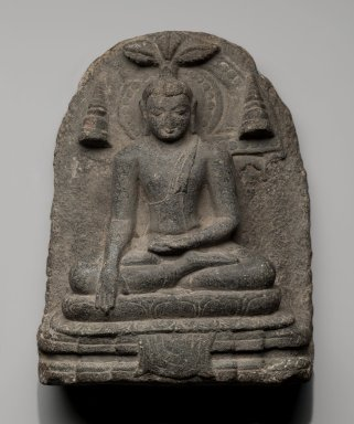 <em>Stele Depicting Shakyamuni Buddha Touching the Earth</em>, ca. 9th-10th century. Schist, 9 1/2 x 7 3/8 in. (24.1 x 18.7 cm). Brooklyn Museum, Gift of Mr. and Mrs. Paul E. Manheim, 68.185.8. Creative Commons-BY (Photo: Brooklyn Museum, 68.185.8_PS2.jpg)