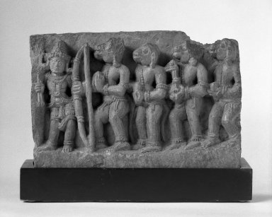 <em>Rama with Monkeys and Bears</em>, ca. 12th century. Grey schist, 8 1/4 x 12 3/8 in. (21 x 31.4 cm). Brooklyn Museum, Gift of Mr. and Mrs. Paul E. Manheim, 68.185.9. Creative Commons-BY (Photo: Brooklyn Museum, 68.185.9_bw.jpg)