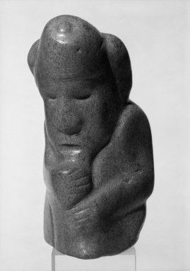 <em>Figure of a Crouching Male Figure</em>. Carved stone Brooklyn Museum, Gift of Norbert Schimmel, 68.190. Creative Commons-BY (Photo: Brooklyn Museum, 68.190_bw.jpg)