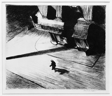 Edward Hopper (American, 1882-1967). <em>Night Shadows</em>, 1921. Etching, Sheet: 11 x 13 3/4 in. (27.9 x 34.9 cm). Brooklyn Museum, Gift of Mrs. Edwin De T. Bechtel, 68.192.17. © artist or artist's estate (Photo: Brooklyn Museum, 68.192.17_bw.jpg)